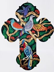 Authentic Oaxacan Wood Carving Big Cross With Birds And Mushrooms Javier Jimenez