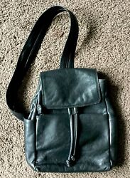 Vintage Bass Casual Black Leather Satchel Backpack 9X11 X3 $32.00