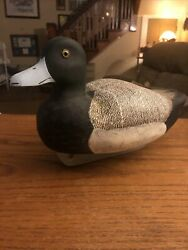 Vintage Hand Carved Duck Decoy Greater Scaup Bluebill Kycia Gouverneur Ny