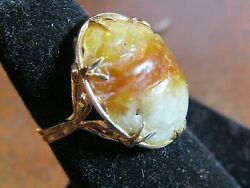 Ming's Hawaii Vintage 14k Yellow Gold-oval Carved Jade Cabochon Ring Size 6