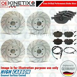 For Bmw 5 Series 550i Front Rear Drilled Brake Discs Wear Wire 370mm 345mm
