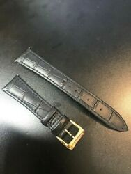 New Raymond Weil 19mm Croco Leather Black Watch Strap Band Gold Buckle