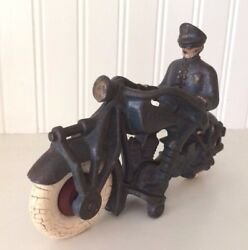 Vintage Cast Iron Toy- Champion 7'' Motorcycle Policeman Rider- Blue Hubley