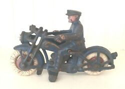 Vintage Cast Iron Motorcycle Hubley Electric Light Police Rider-blue 1930's