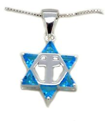 Star Of David With Cross Blue Messianic Pendant 18 Necklace Sterling Silver