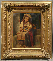 19th Century Oil Painting The Beggar Portrait Of A Young Homeless Girl