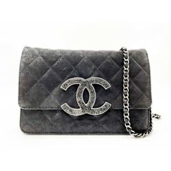 Chanel Wallet on Chain Iridescent Crystal Quilted Woc Black Leather $1399.00