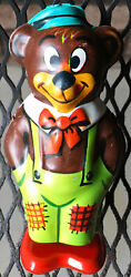 Vintage V. Good Condition Chein Tin Litho Wind-up Walking Toy Bear - Works