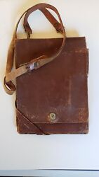 rare/wwii Us Leather Officer' Brown Leather Map Case