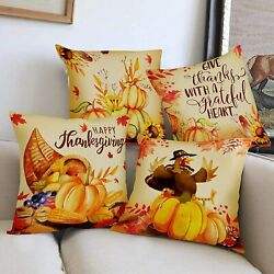 Hexagram Thanksgiving Day Decorative Pillow Covers 18 x 18 Inch Set of 4 Fall Pu