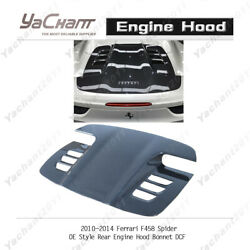 Dry Carbon Rear Engine Hood Bonnet Cover For 10-14 Ferrari F458 Spider Oe Style