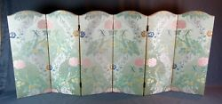 Vintage Chinese Floral Embroidery Asian Folding Screen Room Divider 29.75 Tall