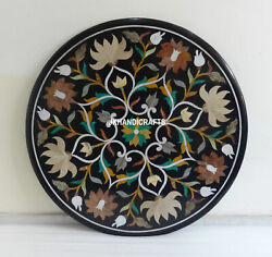 36 Black Marble Table Top Dining Coffee Inlaid Pietra Dura Gifts Home Decor Art