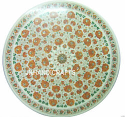 Round Marble Corner Coffee Table Top Real Hakik Mosaic Inlay Outdoor Decor