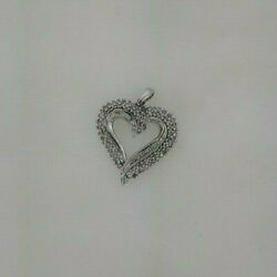 10k White Gold Heart Shaped Pendant Round And Baugette Diamonds 4.50 Grams 0.75...
