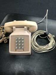 Vintage Bell System Pink Land Line Push Button Phone, Western Electric 2500d