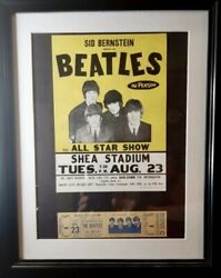 The Beatles Concert Ticket, Rock And Roll Music Poster Framed Print Shea Stadium