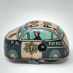 Vintage Old Rare Small Pti Police Patrol Baby Without Key Tin Toy Modern Car
