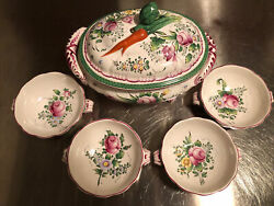 French Hand Painted Faience China Soup Tureen With Lid And Soup Bowls Set Vtg