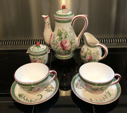 French Hand Painted Faience China Coffee Pot Creamer Sugar Bowl 2cup And Saucer