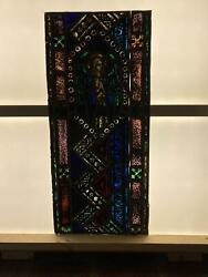 Antique German Stained Glass Church Angel Window From A Closed Church N14