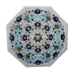 2'x2' White Marble Side Table Top Rare Gem Inlay Marquetry Art Home Decor Gifts