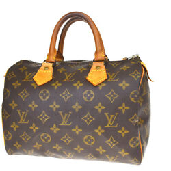 Authentic LOUIS VUITTON Speedy 25 Hand Bag Monogram Leather Brown M4152833MD214 $318.00