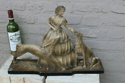 Large Antique French Art Deco Chalkware Lady Borzoi Dogs Statue 1930