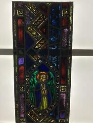 Antique German Stained Glass Angel Church Window From A Closed Church P8