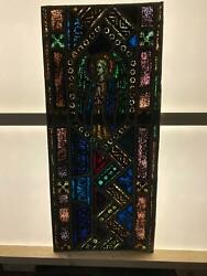 Antique German Stained Glass Church Angel Window From A Closed Church - V12