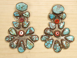 Oscar Betz Sterling Silver Turquoise And Coral Stud Dangle Earrings Dgid X862a