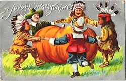 Pilgrims And Indians Kids Silver Thanksgiving Greetings Postcard Embossed