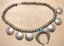 Sterling Silver Turquoise Naja Pendant On Silver Dime Bead Necklace Dmdd X327a