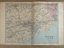 1884 Lakes Of Killarney Ireland Antique Hand Coloured Map By Edward Weller