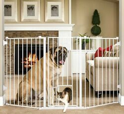 Carlson 38'' Extra Tall Dog Gate And Small Pet Door Baby Safety Gate White 1510hpw