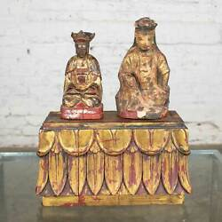 Antique Buddha Pair And Stand Hand Carved Wood And Hand Painted Red And Gilded