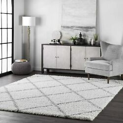 Nuloom Trellis Cozy Soft And Plush Shag Rug 4and039 X 6and039 White