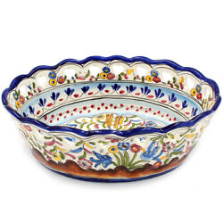 Hand-painted Portuguese Pottery Ceramic Large Oval Bowl