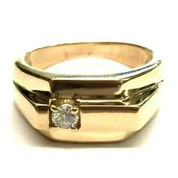 Menand039s 14k Solid Yellow Gold .20 Carat Round-diamond Ring -size 9.25 8.4 Grams