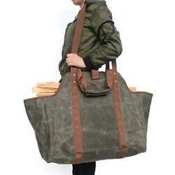 Outdoor Camping Carry Bags Canvas Log Tote Bag Carrier Indoor Fireplace