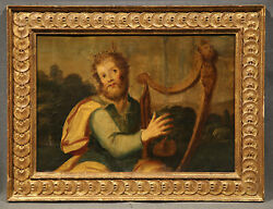 19th Century Religious Oil Painting Of King David With Harp