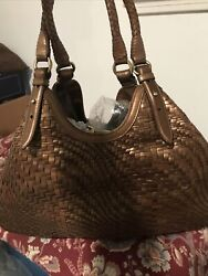 LARGE Size COLE HAAN Genevieve Woven Copper Bronze Bag W Cosmetic Case $102.00