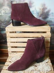 Nwob Guess Safarri Burgandy/wine Genuine Soft Suede Leather Chelsea Boots 7.5m