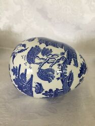 Rare Blue Willow Decorative Egg John Ffrench Style Arklow Pottery 1934-1969