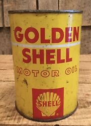 Early Vintage 1qt Gas Service Station Golden Shell Motor Oil Tin Can