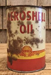Early Vintage Nos Rustic 1qt Gas Service Station Aero Shell Motor Oil Tin Can