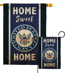 Home Sweet Navy Garden Flag Armed Forces Decorative Gift Yard House Banner