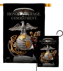 Honor Courage Commitment Garden Flag Armed Forces Marine Corps Yard House Banner