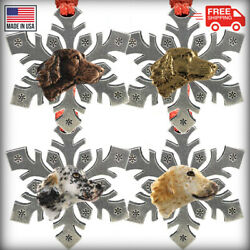 Pewter Dog English Setter Snowflake Christmas Tree Ornaments Made In The Usa