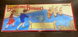 Vintage Schylling Bowling Bunnies Game Hare Theme Bean Bag Toss Bowling Set Game